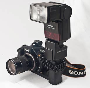 Vivitar lens and Minolta 4000AF mounted on a Sony A350