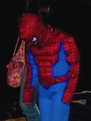 Sometimes flash can create interesting high-contrast images. Here the Spiderman costume is brightly lit, while the rest of the background fades to black.