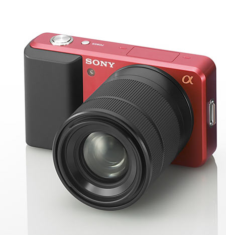 """Cute, but where is the hot shoe? There is no optical viewfinder on this Sony Alpha concept, will the LCD """"viewfinder"""" be up to bright sunlight?"""