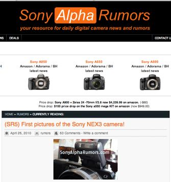 SonyAlphaRumors has photos of the Nex3 in the wild