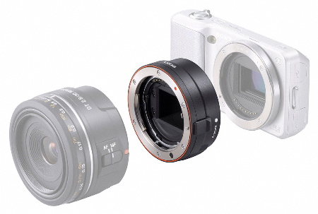 The LA-EA1 adapter will allow you to use Sony or Minolta A Mount lenses on the Sony NEX-5 AND NEX-3