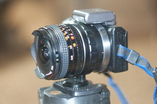 16mm Rokkor fisheye lens mounted to a Sony NEX-5n