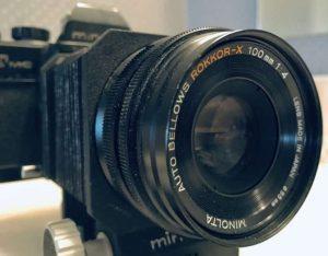 Rokkor lens on bellows
